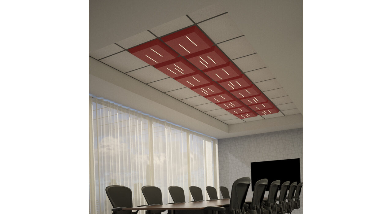 red lighted tiles above conference room table