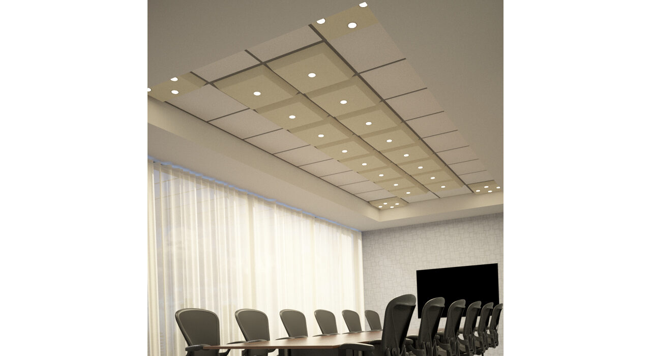 light brown lighted tiles above conference room table