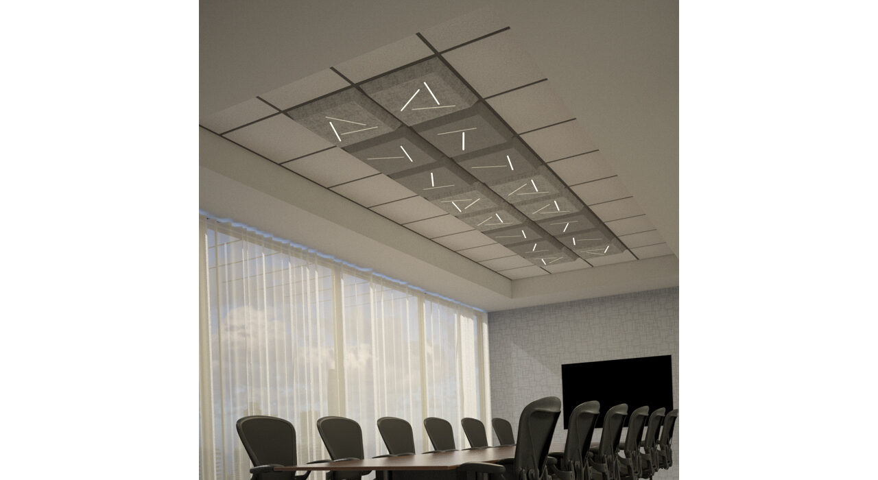 medium and light grey lighted tiles above conference room table