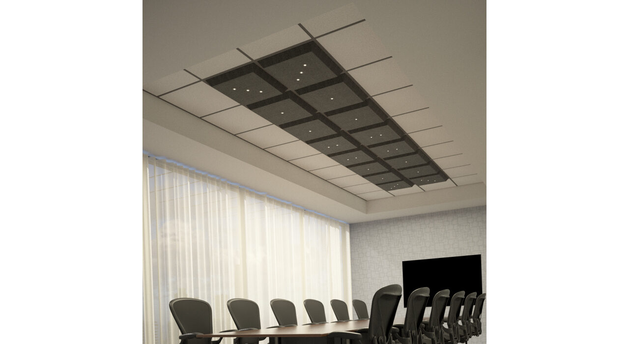 dark grey lighted tiles above conference room table