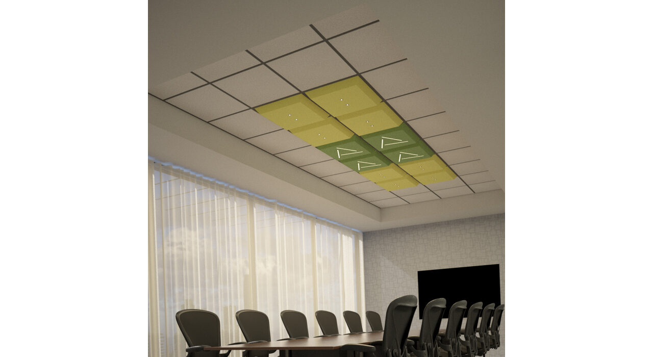 yellow and green lighted tiles above conference room table