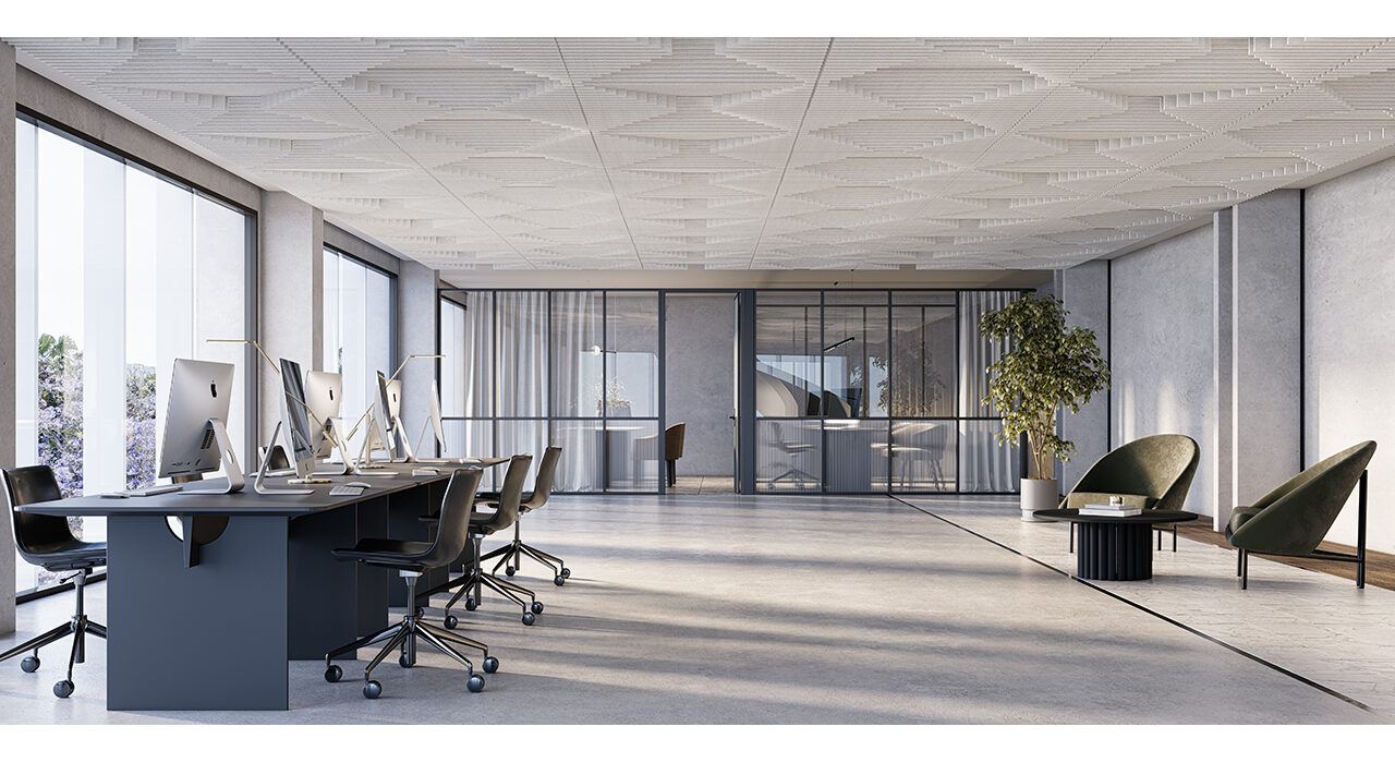 sound absorbing sculpt forte in large office area