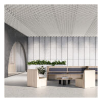 sound-absorbing drop ceiling tile above office
