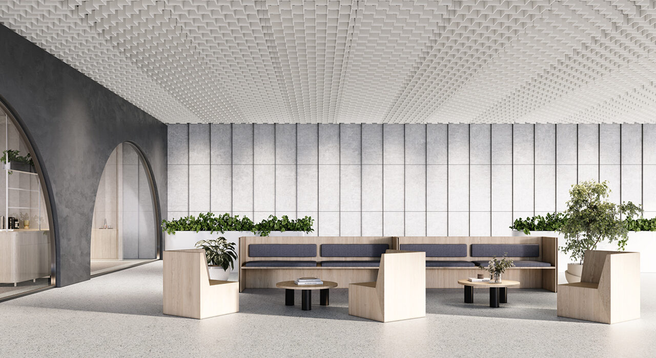off white sound-absorbing drop-ceiling tile above office lounge