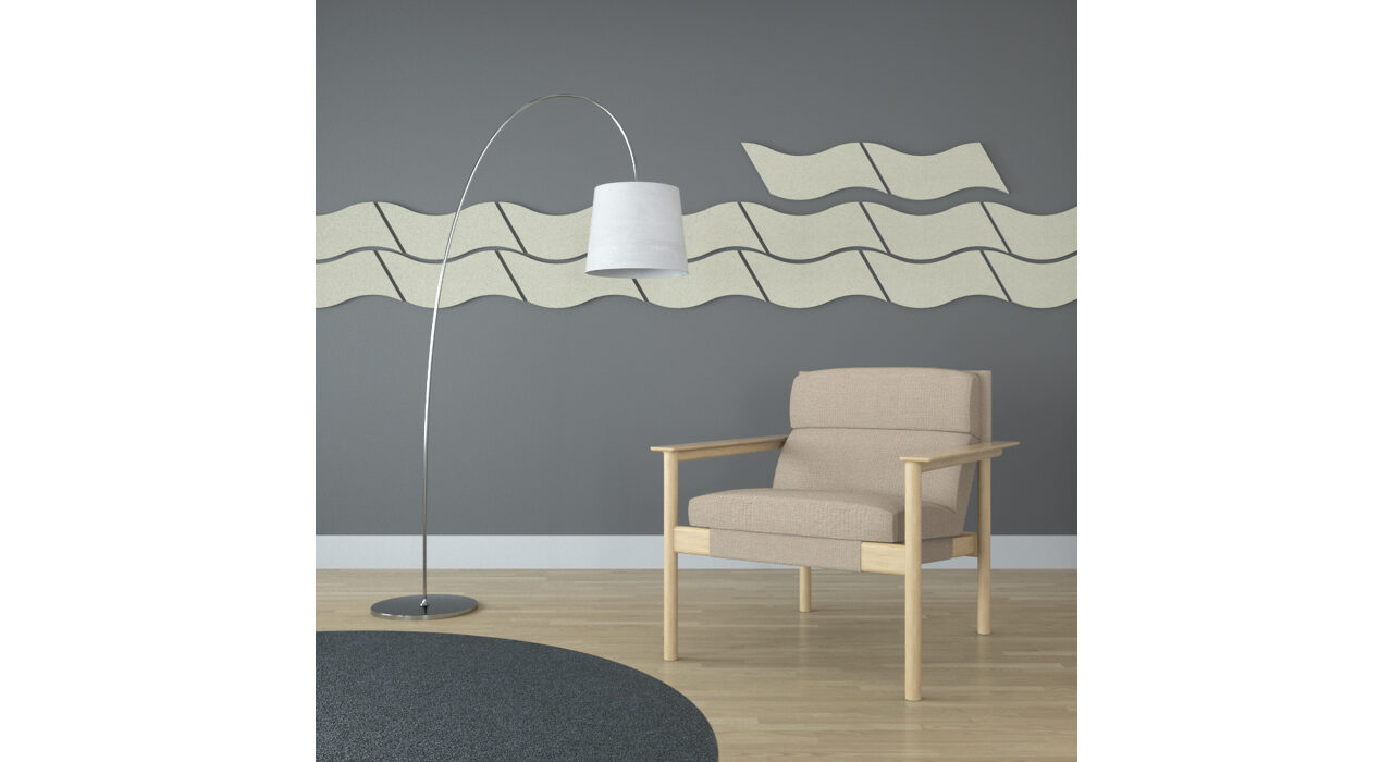 wavy tan sound absorbing self stick tiles on wall behind chair