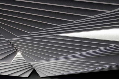 detail of light grey sound-absorbing ceiling tile